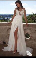 UK Sexy White/Ivory Cap Sleeve Beach Wedding Dress Bridal Gown Size 6-16
