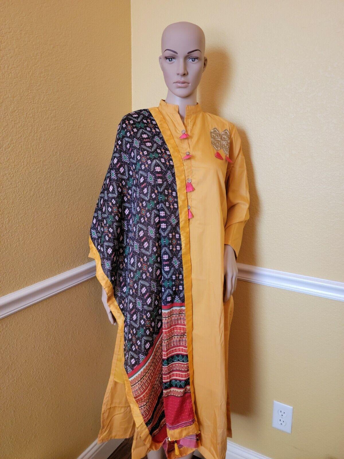 Designer Partywear silk blend Churidar Salwar Kameez, bust 40 inch