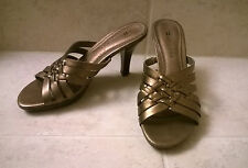 Naturalizer Slide Heels Bronze Womens Shoes Sandals Size 5M