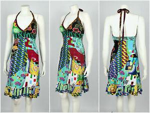 Vestido-de-verano-para-mujer-desigual-Playa-Floral-Multicolor-con-cuello-en-V-100-algodon-Talla-M