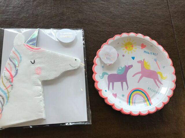 Meri Meri Magical Unicorn /& Rainbow Party Napkins16 count 13X13 New In Pack