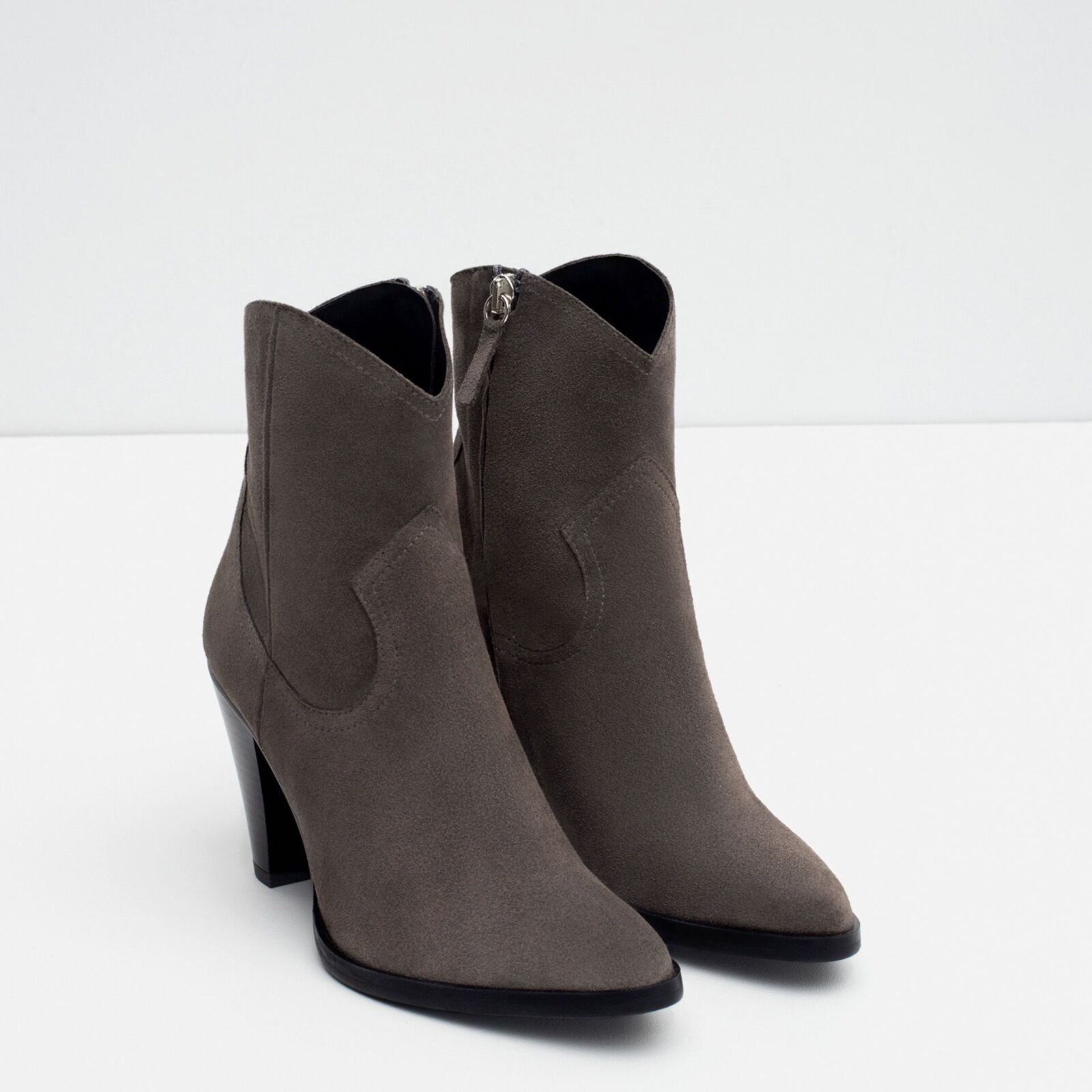 SOLD OUT NWT Zara Leather Cowboy Heeled Ankle Boots Boots Boots 8fd068
