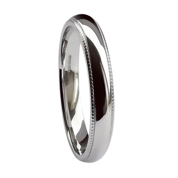 SALE 3mm 950 Palladum Wedding Ring Millgrained Court 3.8g UK HM @ T (USA 9 5 8)