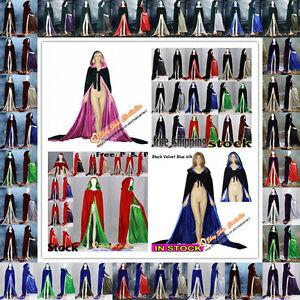 Christmas Velvet Hooded Cloak Halloween Cape Coat Wedding Shawl In Stock S-XXL
