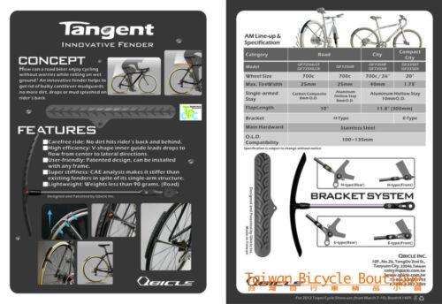 Pair of QBICLE Tangent Fender Bike Mudguard Elegant Fit for Front//Rear Wheel