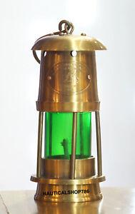 Antique-Marine-Style-Nautical-Miner-Boat-Ship-Lantern-Oil-Lamp-Green-Glass