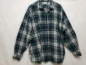 Blue Mountain Men's  4X Green Plaid Flannel Shirt Long Sleeve Pocket Button Up