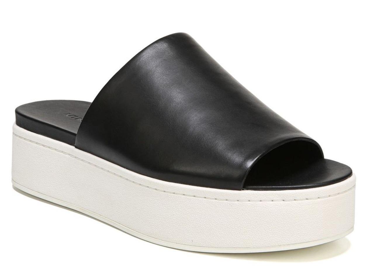 una marca di lusso New in Box -  225 Vince. Vince. Vince. Walford Flatform nero Leather Slide Donna  Dimensione 9.5  il più alla moda