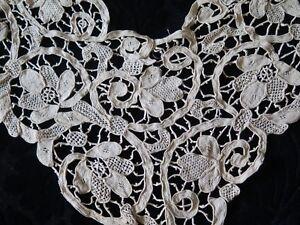 Antique-Handmade-19thC-Cream-Needle-Lace-Fancy-Dress-Front-Bridal-44-034-L-X11-034-W