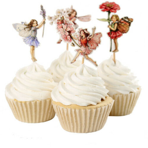 24pcs Little Cupcake Fairy Cake Toppers Edible Party Decorations Edible Paper DB