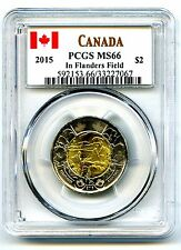 2015 CANADA $2 TOONIE PCGS MS66 POPPY FLANDERS FIELDS REMEMBRANCE HIGHEST GRADE