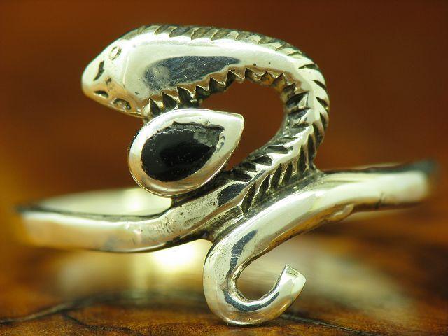 925 Sterling silver Ring mit Onyx Besatz   Schlangenring   Echtsilver   RG 55,5