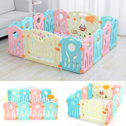 10+2 Panel Large Foldable Baby Playpen Kids Plastic Play Pens Room Divider Toy