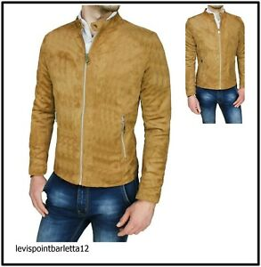 vari colori 1b425 6d637 Dettagli su giubbotto giubbino scamosciato da uomo giacca camoscio slim fit  cammello m l xl