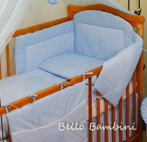 10pcs BABY BEDDING SET //BUMPER//CANOPY //HOLDER//DUVET//CANOPY 4 COT BED or COT BLUE