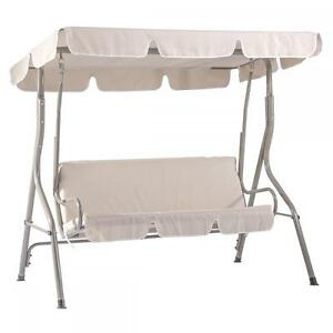 New Beige Canopy Swing Glider Hammock Chair Patio Backyard