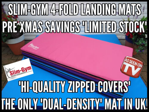 2.4 MTR LARGE FOLDING LANDING CRASH EXERCISE MAT 'FOUR COLOUR' BY SLIMGYM