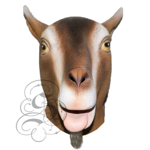 Latex Full Head Farmyard Animal Realistic Brown Goat Fancy Dress Party Prop Mask