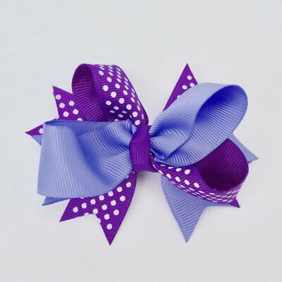 Hair Clip Purple Bow with White Dots Metal Clip NWT Large 5in