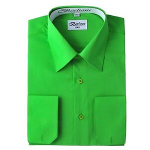 Berlioni-Italy-Solid-Mens-Dress-Shirt-Italian-French-ConvertibleCuff-Apple-Green