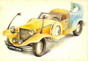Carte-Postale-Signe-du-ZODIAC-CAPRICORNE-serie-Automobile