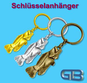 Schluesselanhaenger-Taschenanhaenger-Fisch-Gold-Silber-Bronze