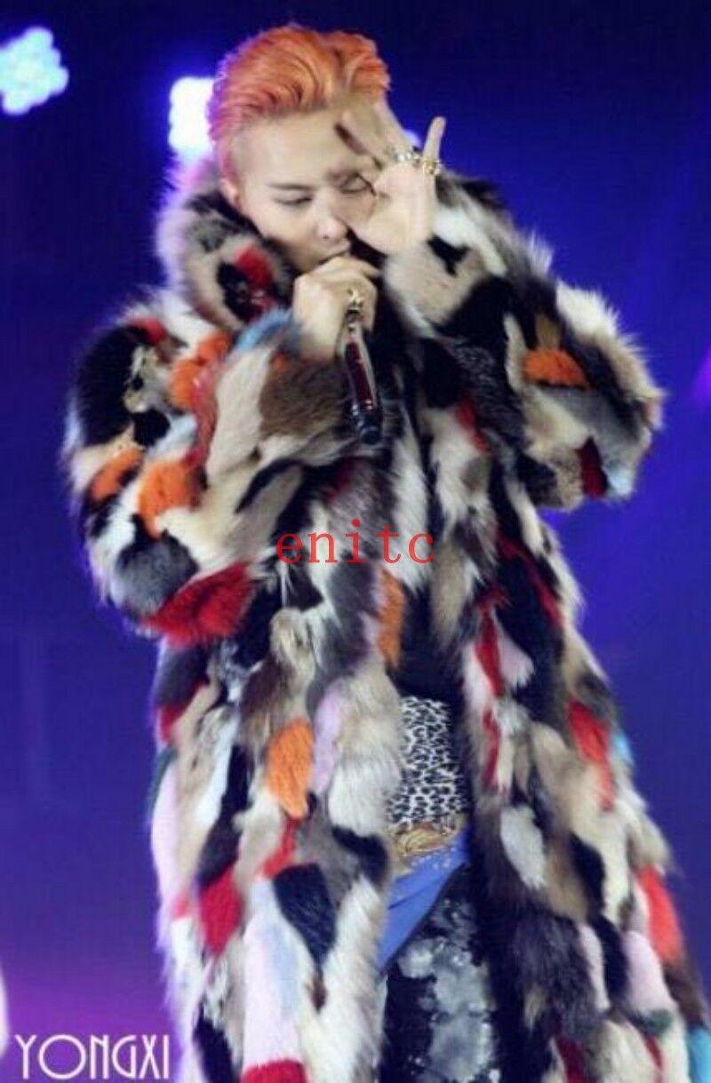 Da Uomo Medio a lungo floreale in in floreale finta pelliccia di volpe spessa cappotto Parka club mostra multi-colore Outwear 3b8d39