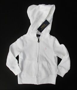 f671cefab NWT Ralph Lauren Girls Long Sleeve White Terry Zip Up Hoodie Pink ...