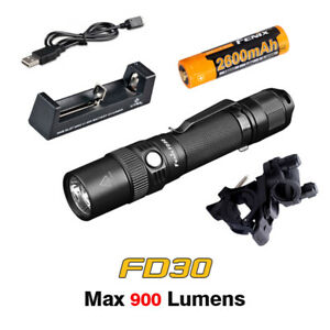 Fenix FD30 LED Focusable Zoomable Flashlight Torch+Battery+Charger+Bike Mount