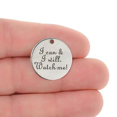 5 I CAN AND I WILL Charms Stainless Steel Quote Charms 20mm cls0259a