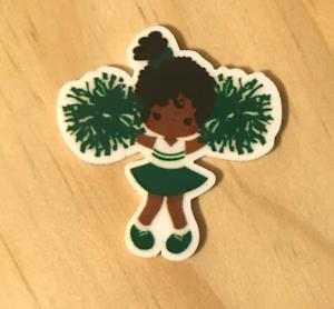 Set of 5 Green Cheer Cheerleaders Resin Planar Flatbacks Embellishments #046