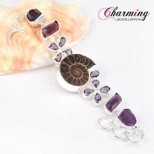 "Real Natural Ammonite Fossil Amethyst Handmade Gems Silver Bracelet 7 5/8"""