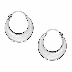 Sterling Silver 925 Plain Hoop Tube Creole Sleeper Earrings 10mm Height G5963