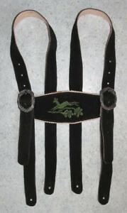 Leder-HOSENTRAGER-zur-Trachten-LEDERHOSE-Trachtenhose-in-schwarz-mit-Rehbock