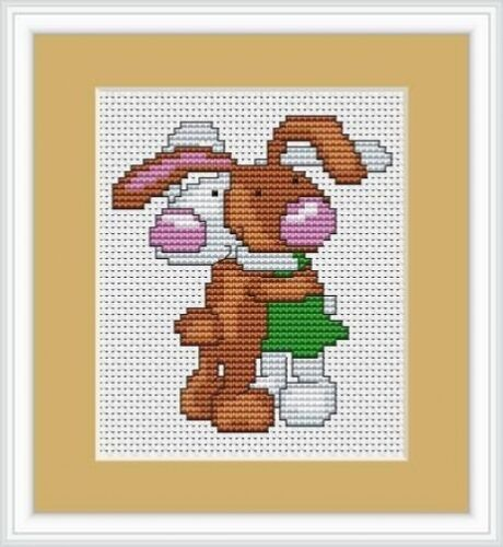 Hugging Bunnies Cross Stitch Kit By Luca S Ideal For A Beginner 7cm x 7cm