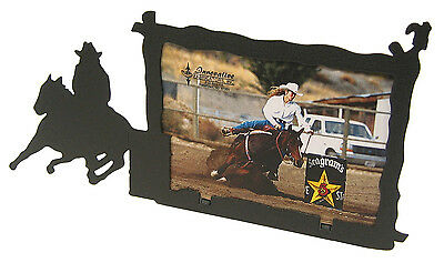 """Barrel Racer #2 Leaving Racing Rodeo Horse Picture Frame 5/""""x7/"""" H"""