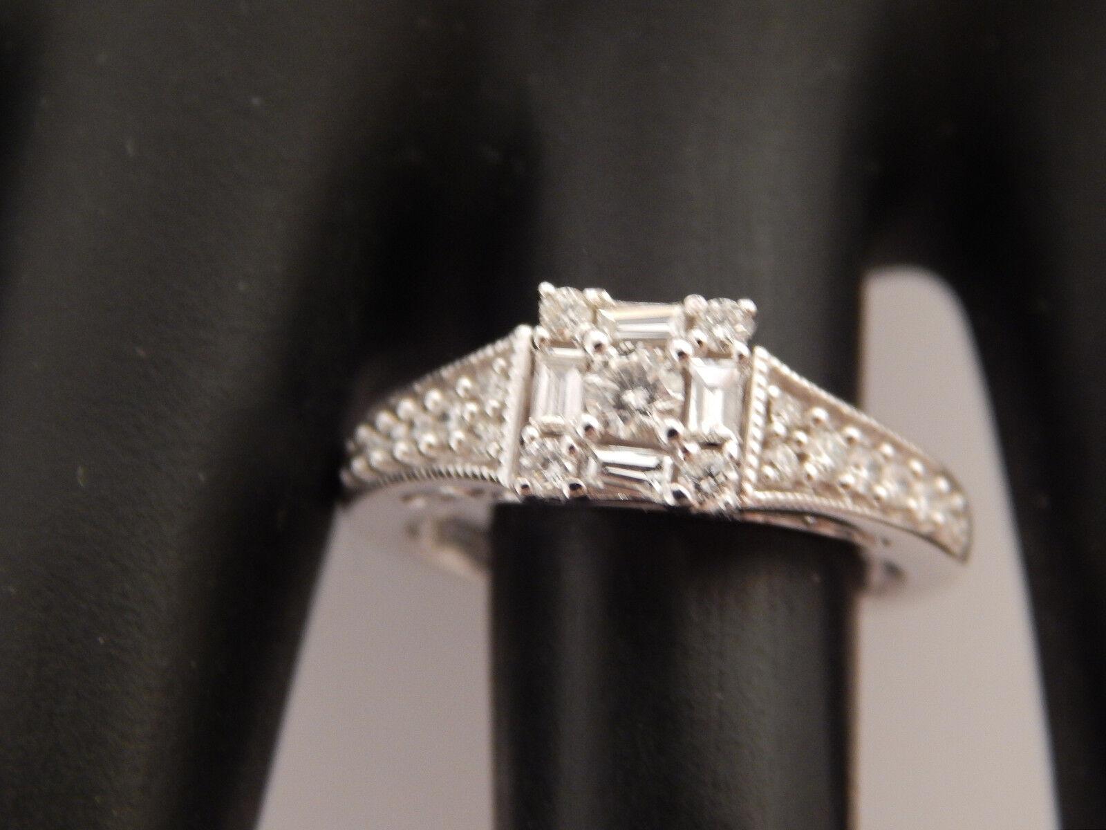 .75 Keepsake Illusion Mix Cuts Diamond Engagement Ring Designer 14k WG G SI