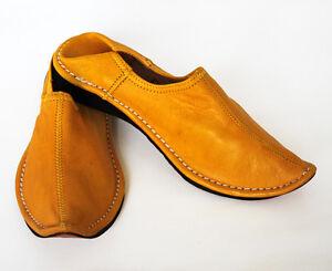 19c60568a781 Das Bild wird geladen Orientalische-Spitzschuhe-Ledershuhe-Marokko-ECHT- LEDER-Pantoffel-ALADIN-
