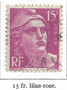 Timbre France Marianne de Gandon 1945-47  Typographiés -N° 724- 15 fr lilas Rose