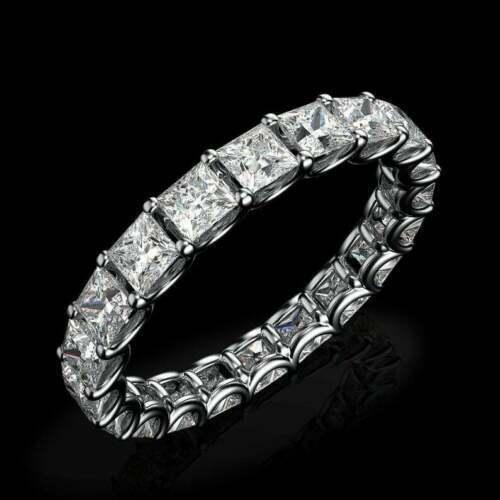 2.20 Ct Princess Cut Diamond Full Eternity Wedding Band Ring 14K White Gold Over