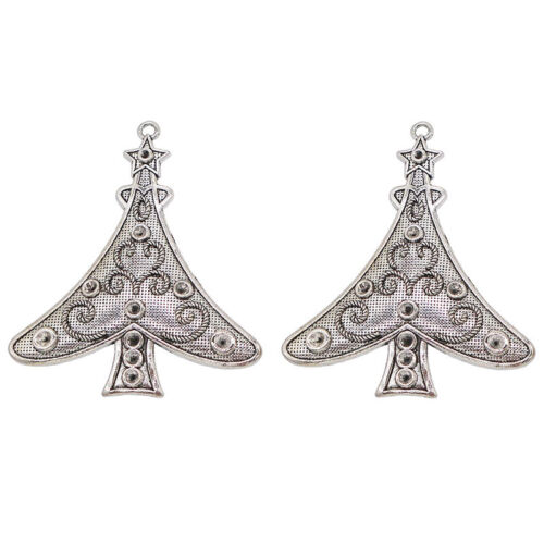 2 x Plata Tibetana grandes encantos colgantes de árbol de Navidad para la fabricación de joyas