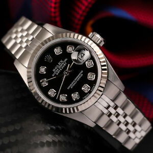 Details About Ladies Rolex 26mm Datejust Black Dial Diamond Accent Ss Steel Jubilee Watch
