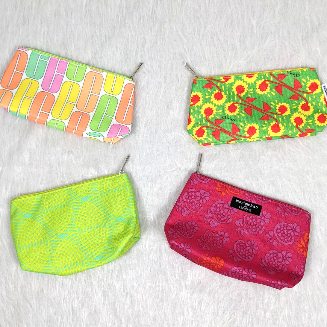 Clinique Set of 4 Cosmetic Makeup Travel Zipper Bags Colorful