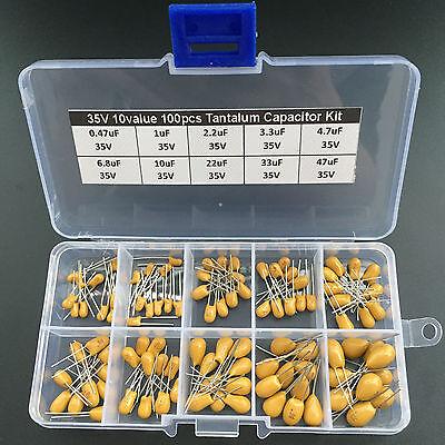 Condensateur au tantale Assorted Kit Box assorstment valeur 10 x 10pcs 35 V 0.47uf ~ 47uf