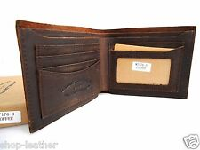 Men's Real Leather Wallet 5 Credit Card Slots id Window 2 Bill Compartments new