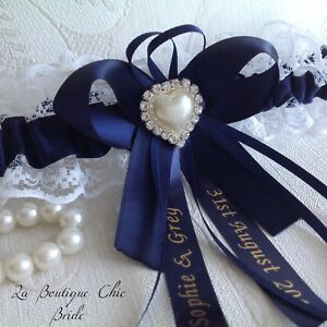 XS-S-M-L-XL-Personalised-Navy-Wedding-Bridal-Bride-Garter-White-Lace-Satin-Pearl