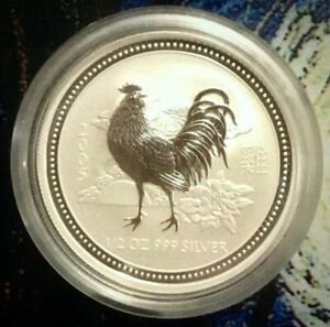 2005-Perth-Mint-Year-of-the-Rooster-Half-oz-999-Fine-Pure-Silver-w-case