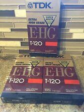 Lot of 3 NEW TDK Blank VHS Tapes Super Avilyn Quality T-120 NEW SEALED 3 Ne