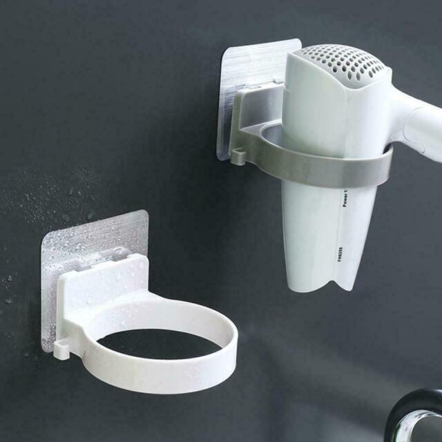 Wall-mounted Hair Dryer Holder Storage Bathroom Shelf Hairdryer Rack Holder Q8D9