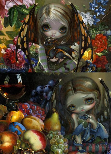 Jasmine Becket-Griffith SIGNED Fruit & Flower Dragonling set of 2 art prints
